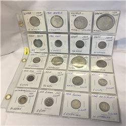 Foreign Currency - Silver : Sheet of 20 Variety (Austria, Belgium, Chile, Bolivia, Egypt, France, Ge