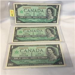 Canada $1 Bill 1967 - Set of 3 Sequential: OO8319853/54/55
