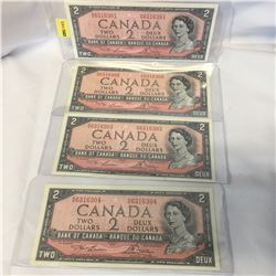 Canada $2 Bill 1954 - Set of 4 Sequential: NG6316301/02/03/04