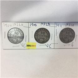 Newfoundland Fifty Cent - Set of 3: 1904; 1908; 1911