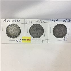 Newfoundland Fifty Cent - Set of 3: 1907; 1908; 1909