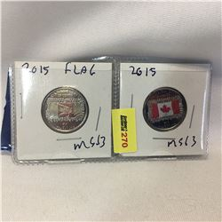 Canada Twenty Five Cent - Set of 2: 2015 Flag; 2015 Flag (Color)