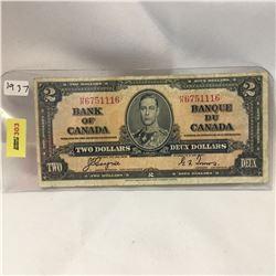 Bank of Canada $2 Bill 1937 S/N#HR6751116