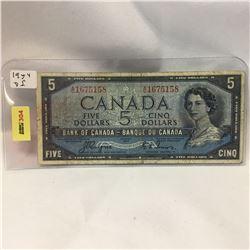 Canada $5 Bill 1954DF S/N#AC1675158