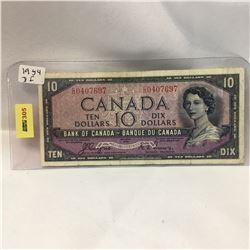 Canada $10 Bill 1954DF S/N#CD0407697