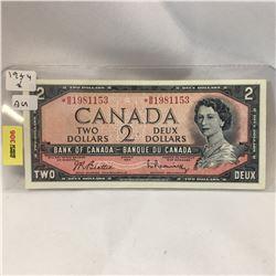 Canada $2 Bill 1954* S/N# *BB1981153