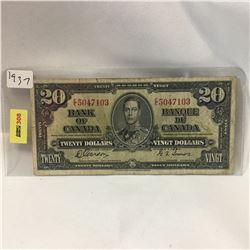 Bank of Canada $20 Bill 1937 S/N#EE5047103