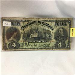 Dominion of Canada $4 Bill 1902