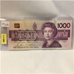 Canada $1000 Bill 1988  S/N#EKA5604831