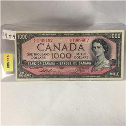 Canada $1000 Bill 1954  S/N#AK1969402