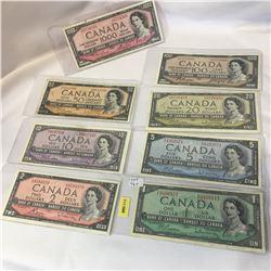 Canada 1954 SET of 8 Bills!!!! $1, $2, $5, $10, $20, $50, $100, $1000