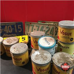 Tray Lot: Tobacco Tins (9) & Variety License Plates