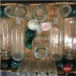 Tray Lot: Milk Bottles (Various Sizes) Insulators & Pogs