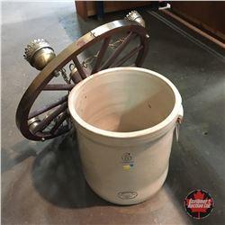 Wagon Wheel Hanging Light Fixture & 6 Gallon Medalta Crock (Cracked)