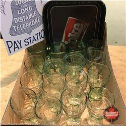 Tray Lot: Coca-Cola Glasses, Coca-Cola Tray & Public Telephone Pay Station Repro Sign