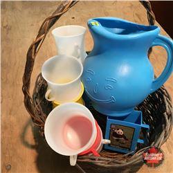 Basket Lot: Kool-Aid Pitcher & Cups