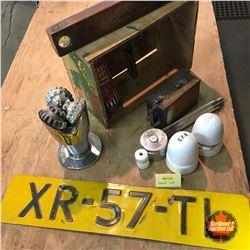 Shelf Lot: Model T Coil, Burgess Battery, CNR Insulators, License Plate, etc
