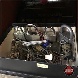 Box Lot: Locks, Keys, Rations, etc