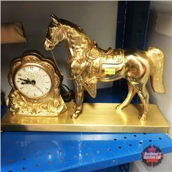 Brass Horse Clock