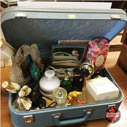Suitcase w/Ladies Items incl: Mirror, Comb & Brush Stand, Crimper, Avon Collectibles, etc