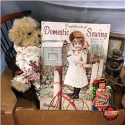 "Box Lot: Small Wooden Chair, 1930's Childs Book, Candelabras; ""Domestic Sewing"" Repro Tin Sign, etc"
