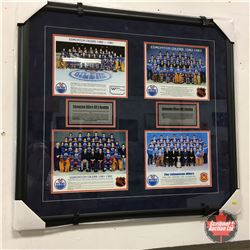 "Professionally Framed Oilers Team Photos from 1984-1984 w/Oilers History (32"" x 31"")"