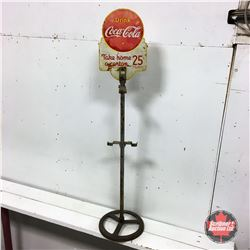 "Vintage Canada ""Drink Coca-Cola"" 6 Pack Store Display Bottle Rack ""Take Home a Carton"" Sign (Cast Ba"