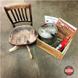 """""""Royal Cape Therien"""" Wooden Crate w/Gas Can, Ford Fire Extinguisher, Automotive News, Wooden Office"""
