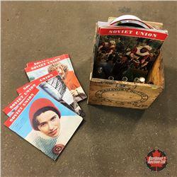 """Canadian Butter Manitoba"" Crate w/Bottles, Soviet Union Magazines, Enamel Roaster, etc"