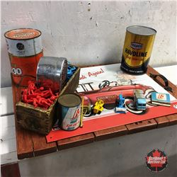 Wooden Serving Tray w/Oil Tins, Graham Tail Light, Cheese Box, Toys (Spacemen & Vehicles) & Repro Ti