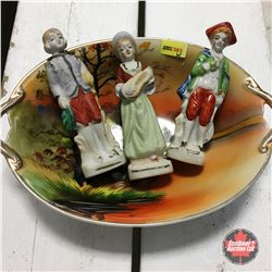 "3 ""Made in Occupied"" Japan Figurines in Painted Dish"