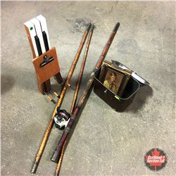 Let's Go Fishing Combo ! (Bamboo Fishing Pole w/Reel, Vintage Framed Boy Picture, Tin Box & Repurpos