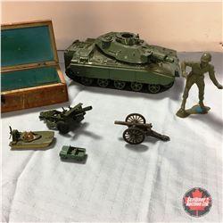 "GI Joe Toy Tank, 6"" Toy Soldier, Wood Box w/Matchbox Swamp Rat Toy, etc"