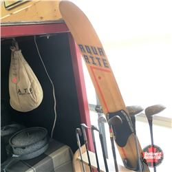 Vintage Golf Clubs (7) & 1 Retro Waterski & ATF Montreal Punching Bag