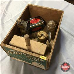 Wooden Box w/Butter Press, 2 Carbide Lights, Insulator & Russian Tea Tin