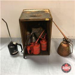 Shotgun Shells Wooden Box w/Contents (Oilers, Funnel & Spout)