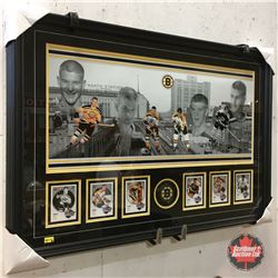 Custom Framed Bobby Orr Panoramic w/6 Hockey Heroes Cards & Autographed Bobby Orr Boston Bruins Puck