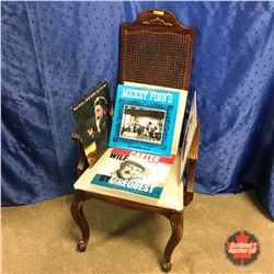 Rattan Back Arm Chair w/7 Albums (incl. Kenny Rogers, Willie Nelson, Wilf Carter, etc)