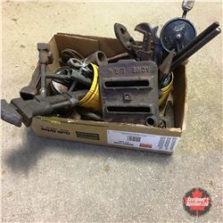 Tray Lot: Vintage Tools (incl. Wrenches, Pliers, Tobacco Tins, Sad Iron Heater, etc)