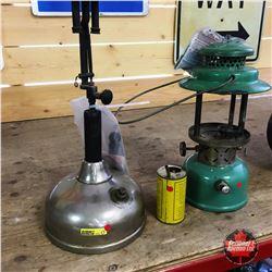 2 Coleman Lanterns & Measuring Can