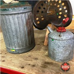 2 Galvanized Fuel Cans & Steel Implement Seat