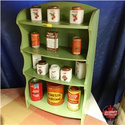 Green Painted Miniature Shelving Unit w/Milk Glass Spice Jars & Confectioner Tins