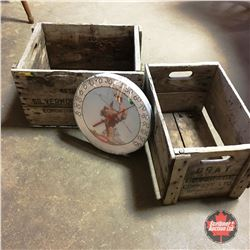 2 Wooden Crates & Coca-Cola Thermometer (has lived outdoors)