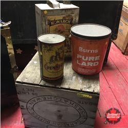 Wooden Butter Crate & 3 Tins (Monarch, Burns Pure Lard & Pennzoil)