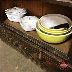 Pyrex Mixing Bowls, Removable Pot Handle, 2 Corningware Casserole Dishes