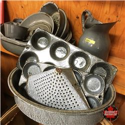 Grey/Marbled Enamelware Collection (Approx 15pcs)