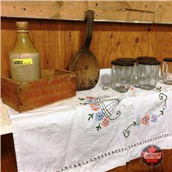 5 Vintage Jelly Jars, Cheese Box, Crockery Bottle, Treenware