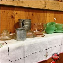 """Jadeite Cups/Saucers, Pink Depression Glass Measuring Cup, Clear Glass Juicer & Butter Dish & """"Swans"""