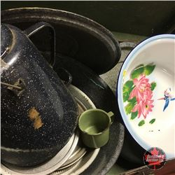 Lovely Grouping of Various Enamelware Pieces (Red Handle Kettle, Floral Basin, etc)