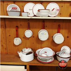 """Red & White Enamelware Collection & """"Monarch"""" Measuring Cup (Approx. 26pcs)"""